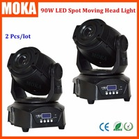 2 pçs/lote 90 W led moving head spot light led mini movendo a cabeça feixe de luz girando gobo DMX512 Mestre Escravo|head spot|led moving head spot|moving head spot -