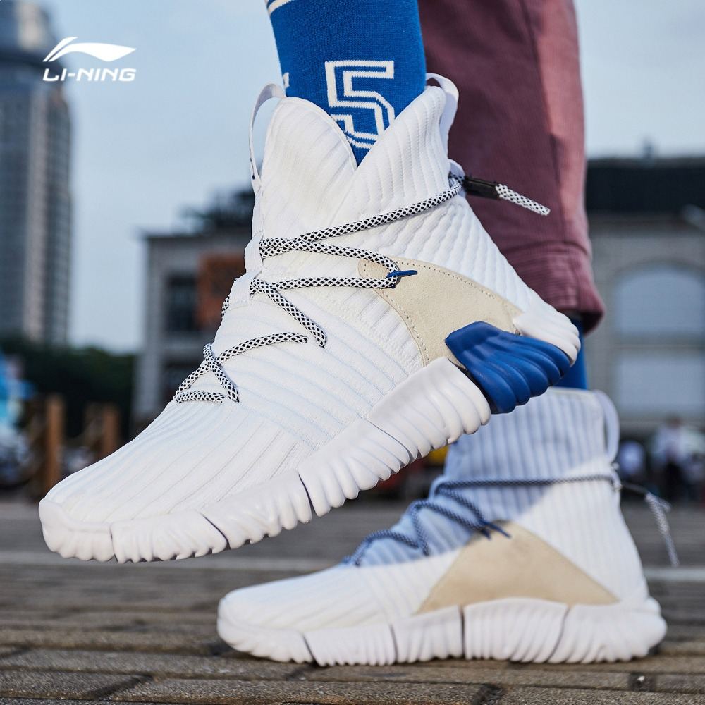 Li-Ning Hommes WUKONG Marche Chaussures High Cut Mono Fil Respirant Re-fit Doublure Sport Chaussures Chaussette- comme Sneakers AGLN131 YXB237