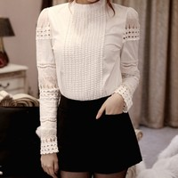 Elegant Lady Shirt Crochet Cotton Slim Tops Solid Embroidery Long Sleeve Formal Blouse L4 H2