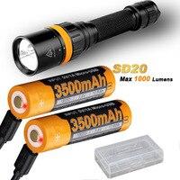 Fenix SD20 1000 люмен CREE светодиодный 100 м погружной Дайвинг фонарик с 2 x ARB L18 3500U аккумулятор, USB кабель для зарядки