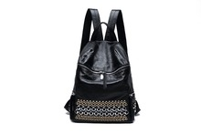 Новинка 2017 г. 100% натуральная мягкая Натуральная кожа женщин рюкзак ежедневно рюкзак для девочек школьная сумка заклепки дорожная сумка женская Сумки