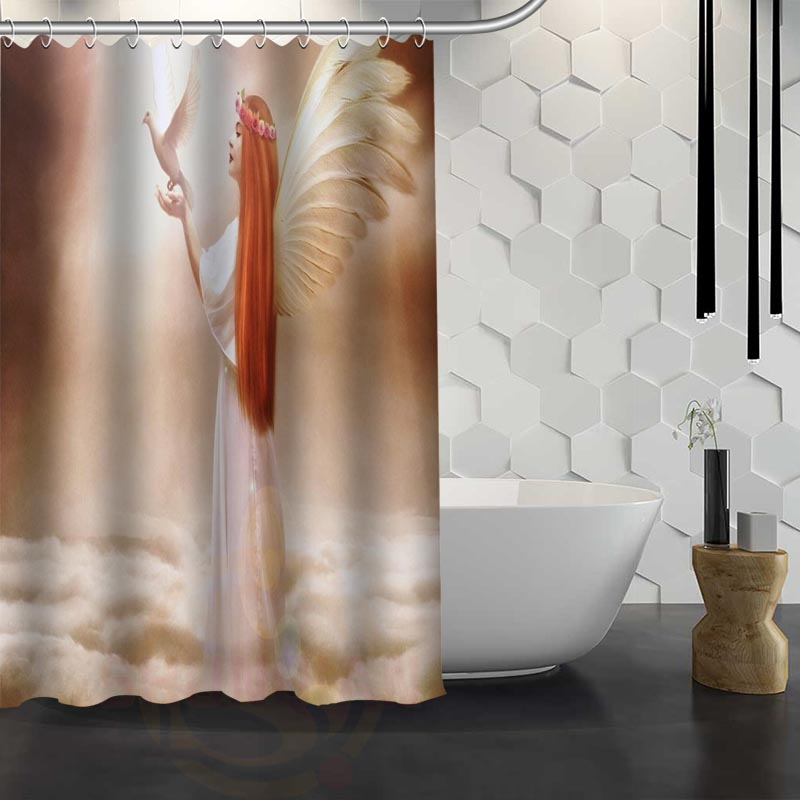 Mondern Classical Angel Shower Curtain Pattern Customized Shower ...