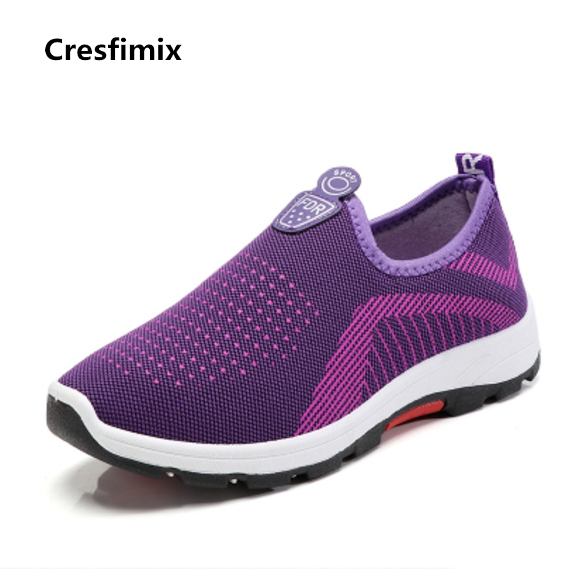 Cresfimix zapatos de mujer women casual mesh air breathable flat shoes lady soft & comfortable slip on shoes female cool shoes cresfimix zapatos de mujer women fashion pu leather slip on flat shoes female soft and comfortable black loafers lady shoes