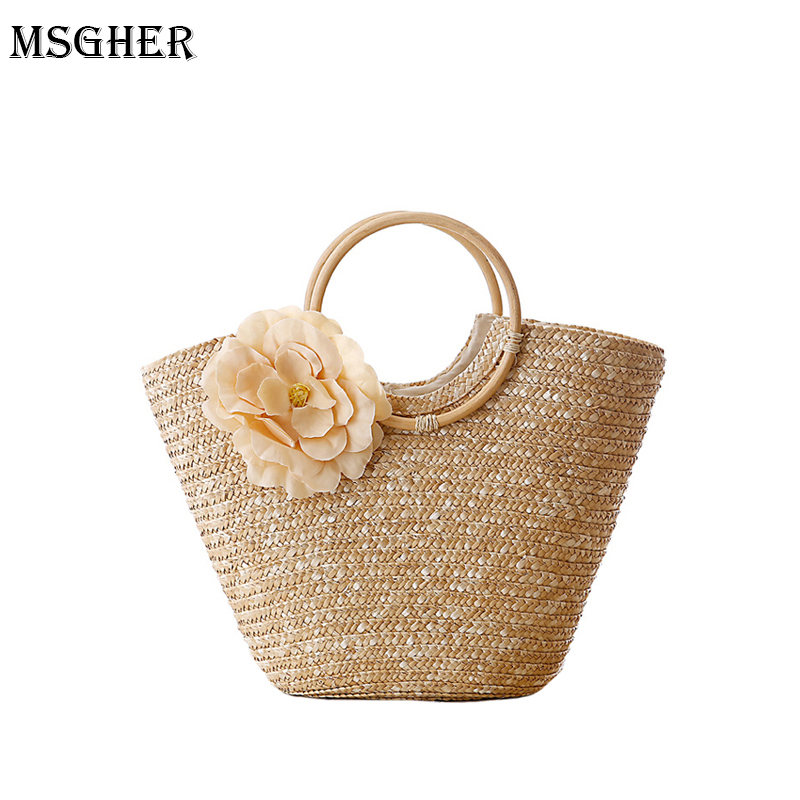 M.S Elegant Flower Appliques Straw Beach Bag Bohemian Holiday Totes Handle Bags Large Solid Woven Womens Casual Handbags SW015