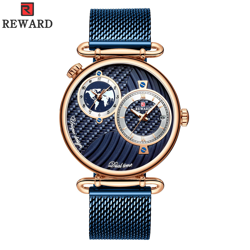 REWARD Men Watches Top Brand Luxury Full Steel Dual Dial Quartz Wristwatch Mens Casual Waterproof Analog Watch Relogio Masculino
