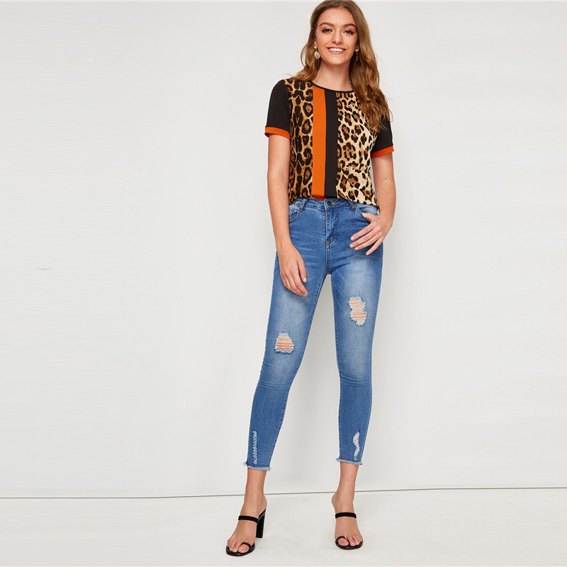 SHEIN Color Block Cut-and-Sew Leopard Panel Top Short Sleeve O-Neck Casual T Shirt Women 19 Summer Leisure Ladies Tshirt Tops 25