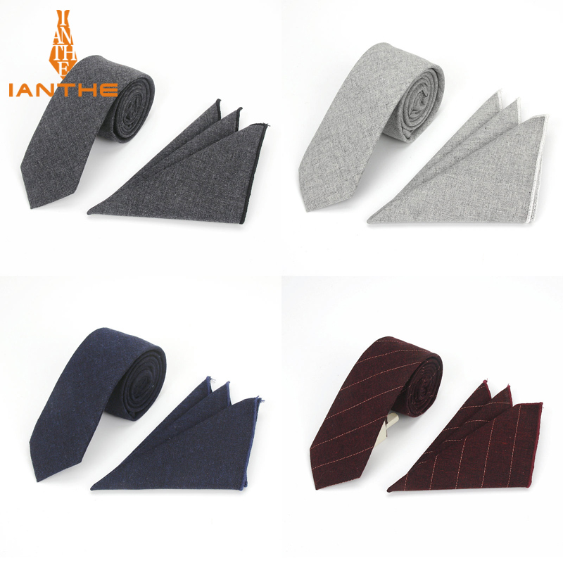 Brand New High Quality Men Cotton Tie Set Necktie Hanky Pocket Square Gravata Solid Classic 6cm Ties Fashion Wedding Tie For Man