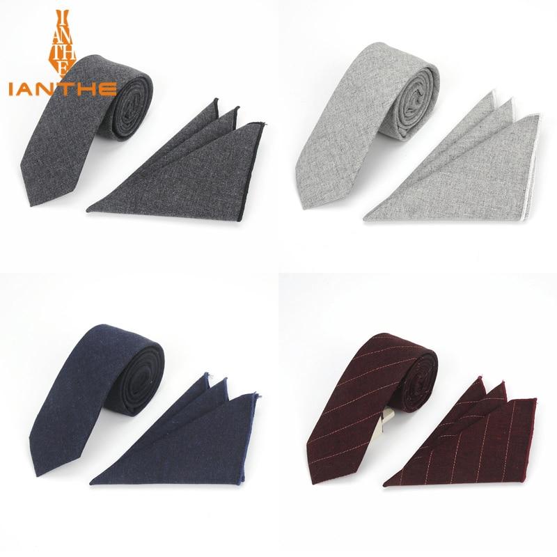 Brand New High Quality Men Cotton Tie Set Necktie Hanky Pocket Square Gravata Solid Classic 6cm Ties Fashion Wedding Tie For Man