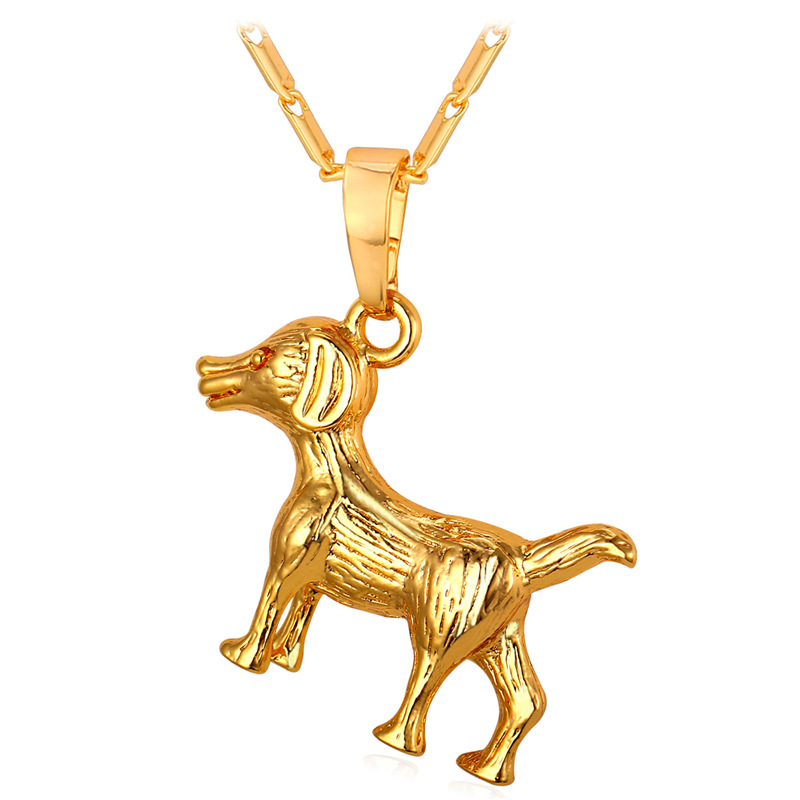 Kpop Cute Dog Pendant Necklace Women Man Jewelry Gold/Silver Color Necklace 2016 Charms Unisex Jewelry P296