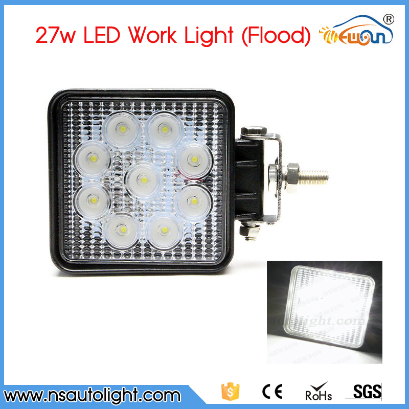 Free Shipping One pc 4inch Square 27W LED Work Light 12V 24V IP67 Flood beam For 4WD 4x4 Off road Lamp TRUCK BOAT TRAIN BUS truck diagnostic tool t71 for heavy truck and bus work on vehicles which compliance with j1939 j1587 1708 protocol free shipping