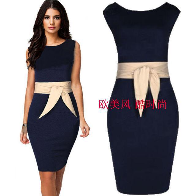 6bc7067ca8aff New Arrival Elegant Vintage Dark Blue Office Dress Slim Bodycon Sheath  Summer Style OL Free Shipping-in Dresses from Women's Clothing &  Accessories on ...