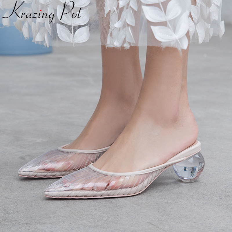 Superstar slingback tacchi alti punta a punta di vibrazione flop sandali delle donne di disegno di arte al di fuori muli confortevole dolce estate scarpe L68-in Tacchi alti da Scarpe su  Gruppo 1