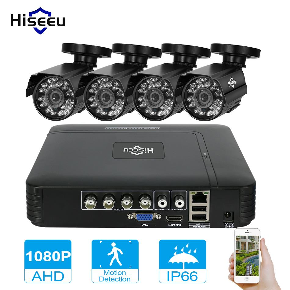 Hiseeu 4CH CCTV System 1080P HDMI AHD CCTV DVR 4PCS 1080P 2.0 MP Option IR Outdoor Security Camera AHD Camera Surveillance Kit security camera system hd 4ch cctv system 1080p hdmi ahd dvr 2pcs 720p 1080p ahd cameras cctv ir outdoor surveillance system