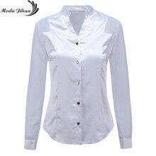 819289d5bace21 Moda Jihan New Design Women Blouses & Shirts White Black Long Sleeve  Chiffon Splice Satin Office Tops Slim Style V Neck Female