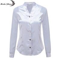 Moda Jihan New Design Women Blouses Shirts White Black Long Sleeve Chiffon Splice Satin Office Tops