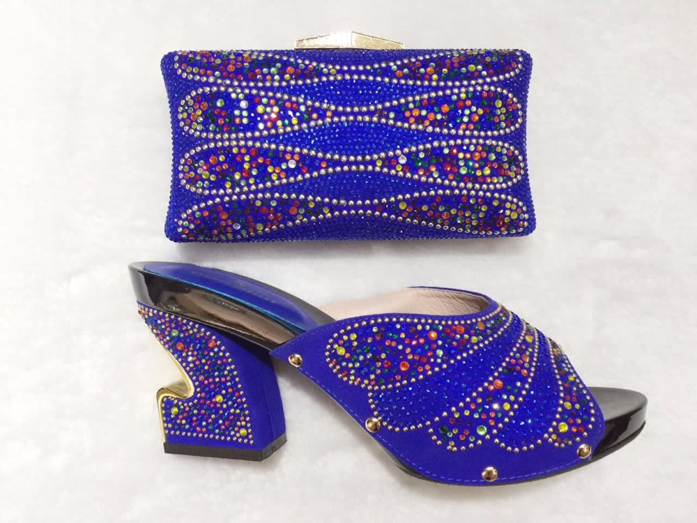 ФОТО High Quality Italian Ladies Matching Shoes And Bags Set With Stones Pumps Sandal Fashion African Shoes With Bag Size 37-43 TT03