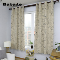 Babaite Vintage Stamp Stylish Cool Curtain Modern Printing Cotton Linen Fabric Curtains For The Living Room