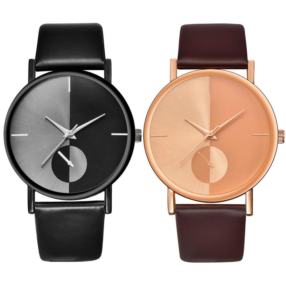 Fashion Leisure High Quality Man Watchg Couple Fashion Leather Band Analog Quartz Round Wrist Business Men's Watch A40