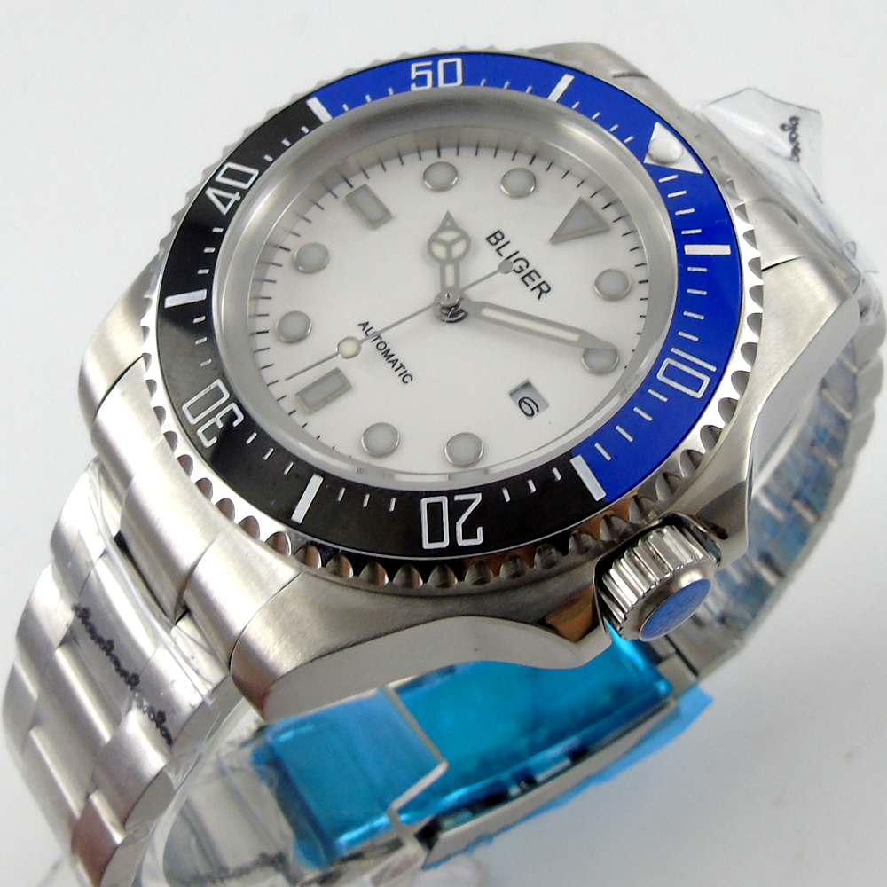 Bliger 44mm white Sterile dial blue &black Ceramic Bezel automatic mens watch