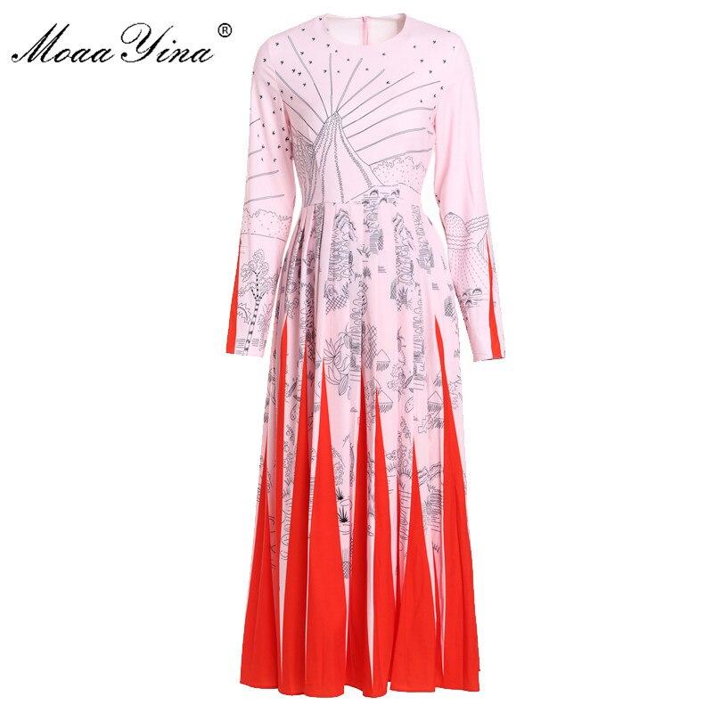 MoaaYina High Quality Fashion Designer Runway Dress Spring Women Long sleeve Floral Print Casual Holiday Elegant