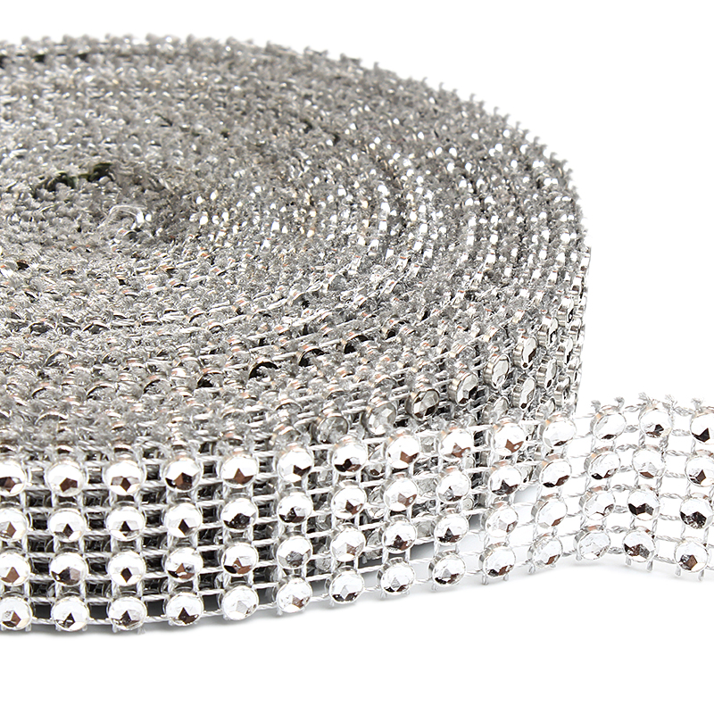SILVER Diamante Bling Sparkling Diamond Effect Wedding Cake Trim Ribbon