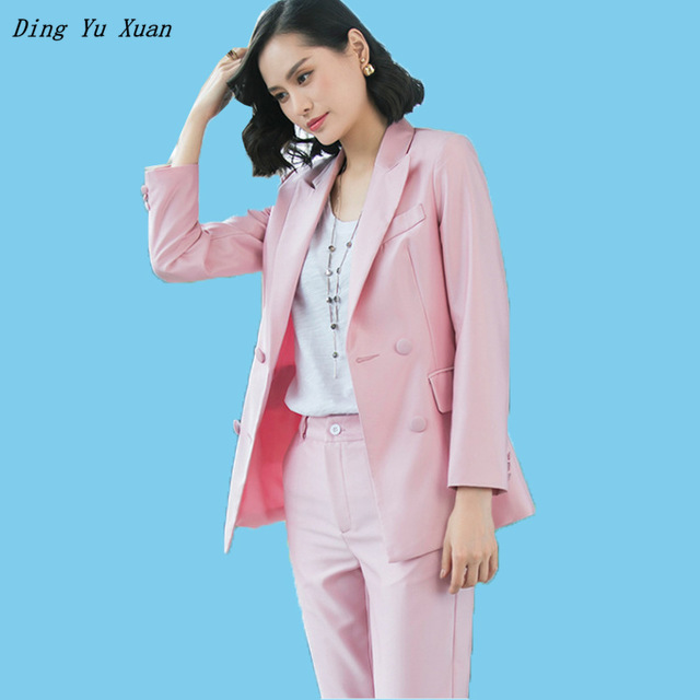 Ladies Office Work Double Breasted Blazer with Pencil Pants OL Women Red Pink Blue Pants Suit Jacket with Trouser Two Pieces Set