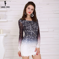 Missord 2017 Sexy Summer Dress Long Sleeve Hollow Out Backless Lace Party Dress FT8394