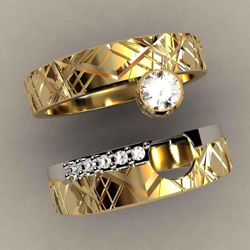 Luxe Vrouwelijke Zirkoon Stone Ring Set Unieke Stijl Kristal Gouden Kleur Bridal Ring Belofte Engagement Ringen Voor Vrouwen