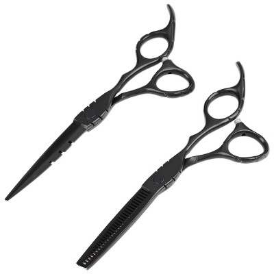 2Pcs 6.0 Inch Salon Stainless Steel Hair Scissors Thinning and Cutting Set Barber Shears 30 Teeth