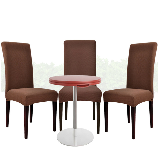 Yazi 4PCS Coffee Super Fit Stretch Seat Cover Home Dining Room Chair Slipcover Protector Removable