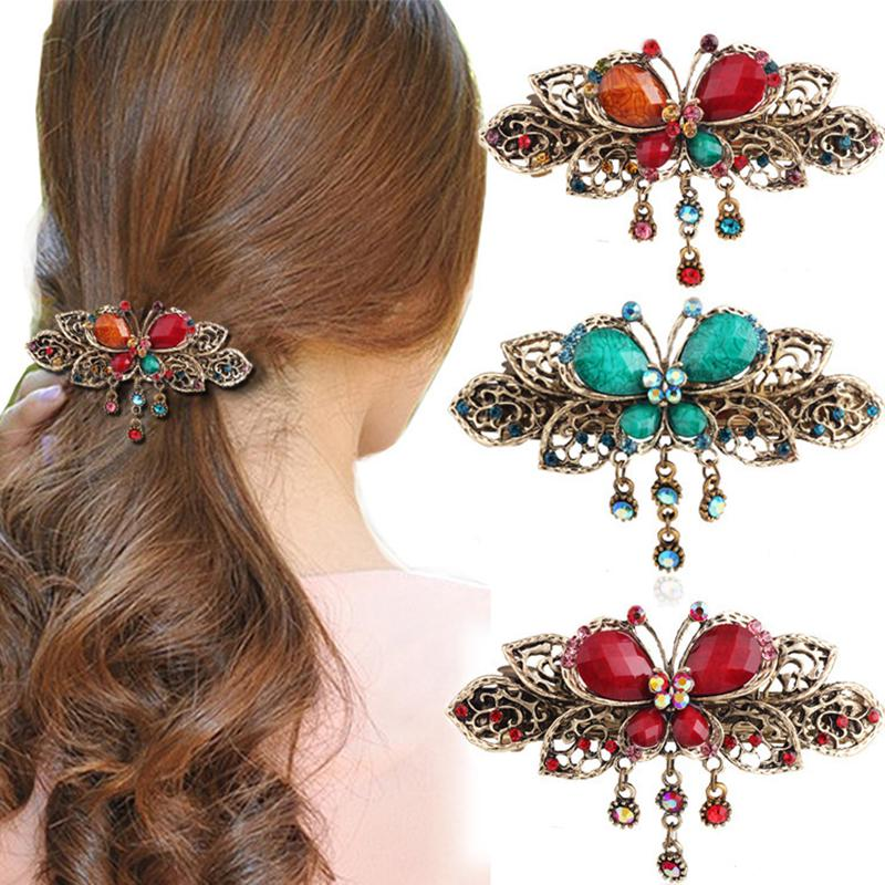 Women Vintage Classic Butterfly hollow out pendant hairrpin Rhinestones Hair Clip women accessories
