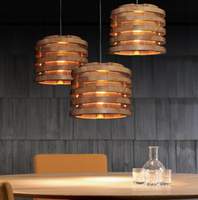 2017 New Lamparas Nordic Drum Chandelier Restaurant Clothing Store Cafe Personality Decoration Wood Lights Free Shipping