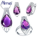 Almei 2017 Jewelry Sets Silver CZ Zircon Bijoux Jewellery Set Fashion Purple Water Drop Crystal Wedding Engagement Party T221