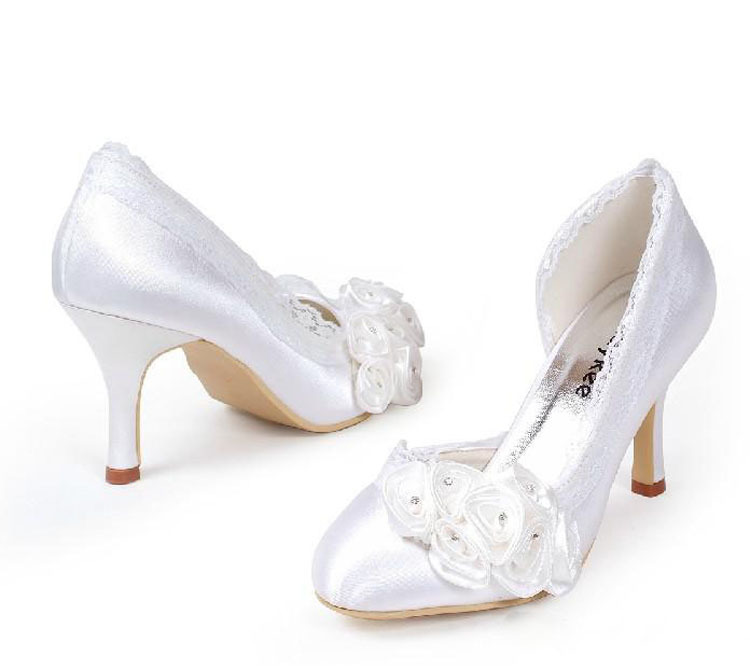 2016 White Wedding Shoes Elegant Round Toe Satin  Rose Bridal Dress Shoes Party Prom Dress Shoes for Ladies 1 design laser cut white elegant pattern west cowboy style vintage wedding invitations card kit blank paper printing invitation
