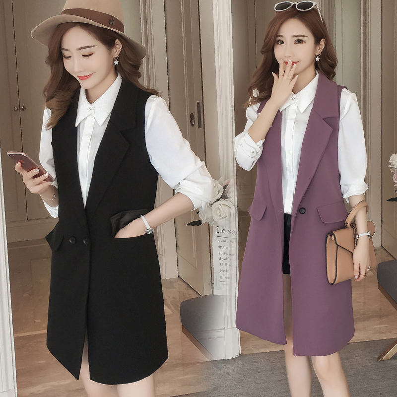 f8aee4f18 US $19.55 50% OFF|Plus Size 3XL Spring Autumn Long Coat Sleeveless Suit  Vest Coat Women Chaleco Mujer Ladies Tops Office Blazer Vest Jacket  C5175-in ...