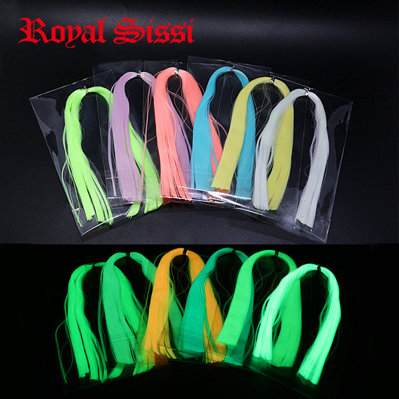 Royal Sissi 6colors Surtido de moscas Luminiscencia de fibra de minnow luminiscente Glow in Dark Fly Materiales para atar moscas serpiente de lucio