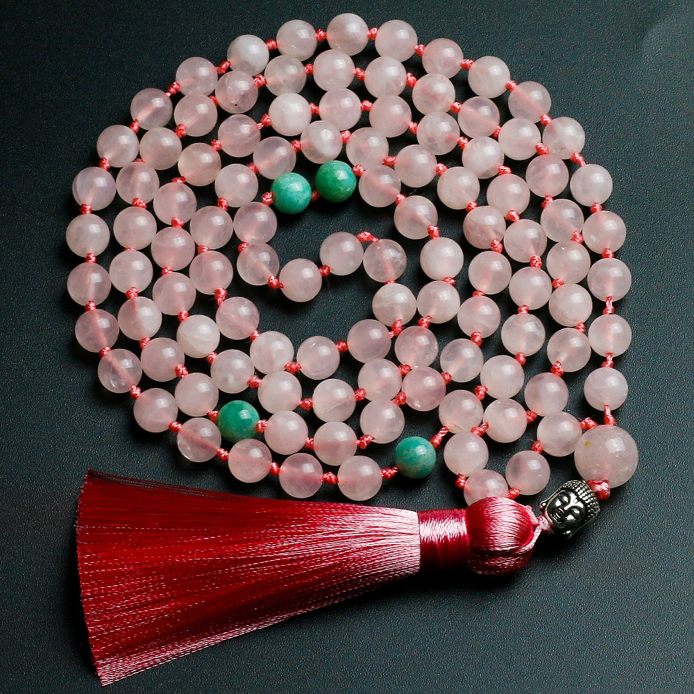 Pink Quartz Stone 8mm Bead Tassels Long Necklaces For Women High Quality Amazonite Bead Necklace 108 Mala Buddha Charm Jewelry chic tassels bead knotted bohemian slender waist rope for women