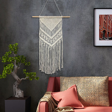 New Macrame Wall Art Handmade Cotton Hanging Tapestry with Lace Fabrics Bohemian Wedding Decoration Christmas