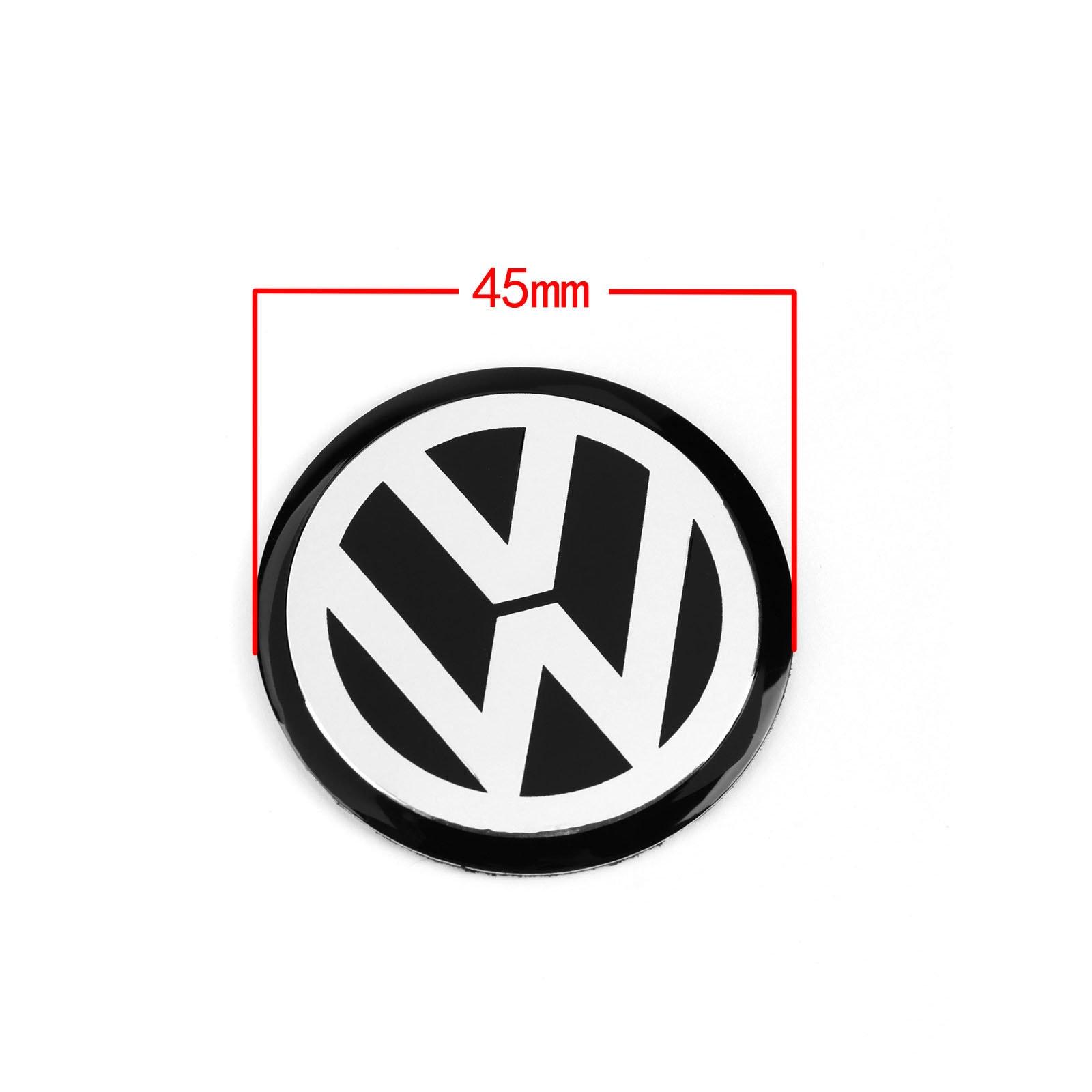 4pcs 45MM 4 5cm Black Car Steering wheel Center Badge Emblem Logo Decal Sticker Decoration Styling For VW