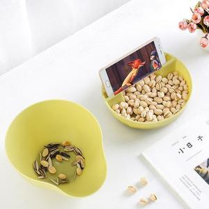 Image 2 - Convenience Double Layer Snacks Nuts Storage Box Garbage Holder Plate Dish Organizer Plastic Dry Fruit Containers