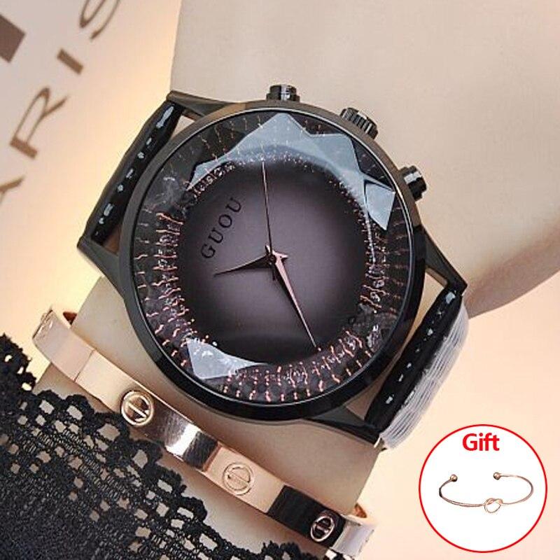 Relojes de las mujeres 2018 GUOU señoras reloj relojes de lujo para las mujeres moda mujer Montre 2018 diamante bayan kol saati