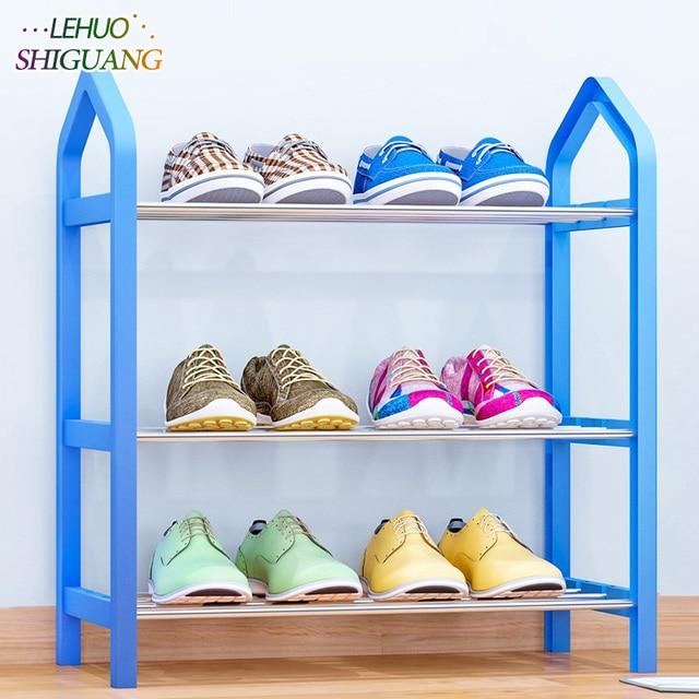 Simple Shoe rack Steel Pipe Plastic 3 Tier Shoe Rack Shelf Easy Assembled Light Storage Organizer Stand Holder Space Saving