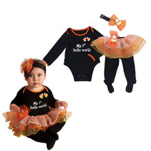 2017 pudcoco 4PCS Baby Girl Casual Cute Lovely Clothes Set Headband Hello World Outfit Party Romper Skirt Dress Set Clothes