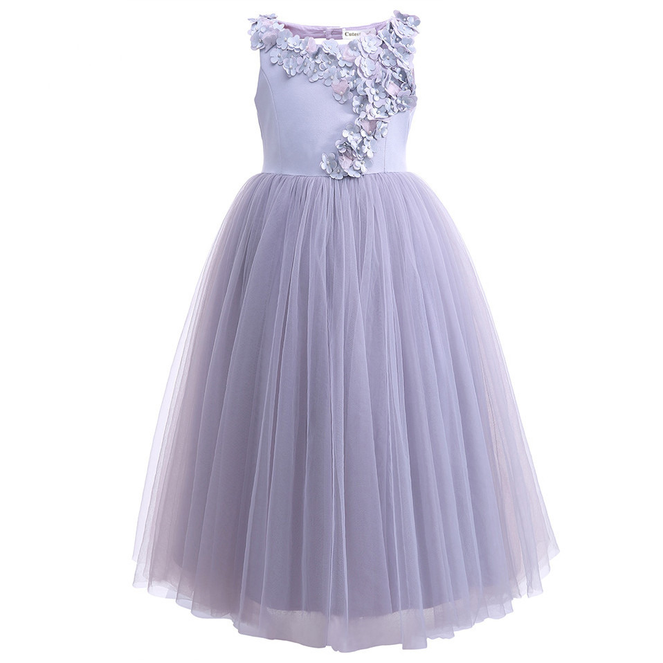 Long Flower Girl Dresses For Weddings Lavender Flower Party Dress For Teenager Girls Kids Clothing Pageant Gown