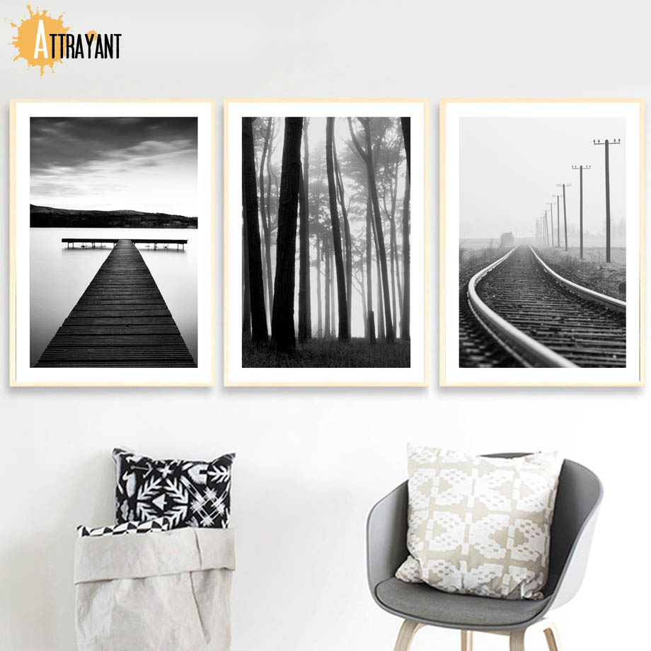 Railway Wood Wharf Nordic Posters And Prints Wall Art Canvas Painting Wall Pictures For Living Room Bedroom Home Decor