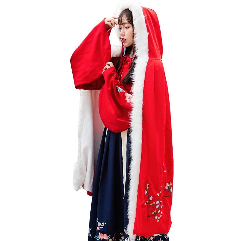 Grue Femmes Laine Capuchon Manteau Fourrure Cosplay Outwear Épaissir Cape Noël Broderie Chinois Long À De Cachemire Floral nrqH78r0W