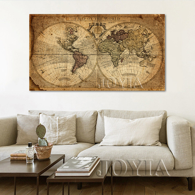 No Frame Vintage World Map Canvas Art Prints Large Painting