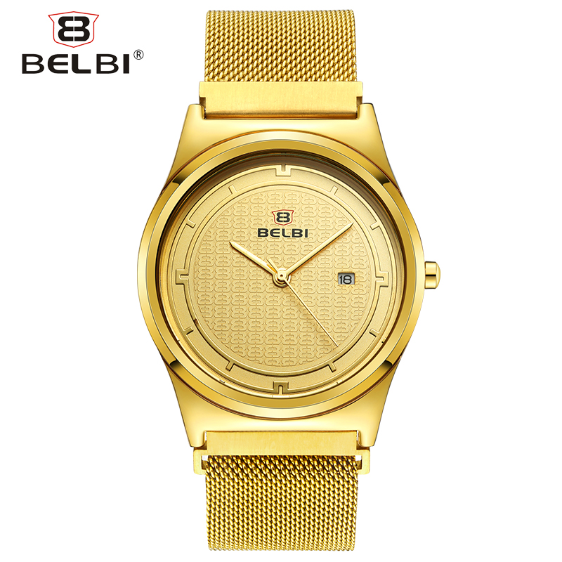Free Adjust Men Clock New Stainless Steel Milan Strap with Magnetic Buckle Quartz Male Wristwatches China Belbi Brand Watches