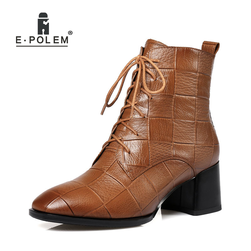 2018 New Fashion Female Genuine Leather Martin Boots Pointed Toe Cross-tied Ankle Boots Thick High Heel Women Casual Short Boots skullies beanies the new russian leather thick warm casual fashion female grass hat 93022