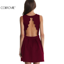 COLROVIE Famous Brand 2017 New Style Summer Dress Sexy Girls Sleeveless Open Scallop Pleated Elegant Women Above Knee Dress